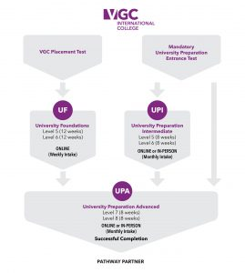 Chart explaining VGC's options for a Pathway to University